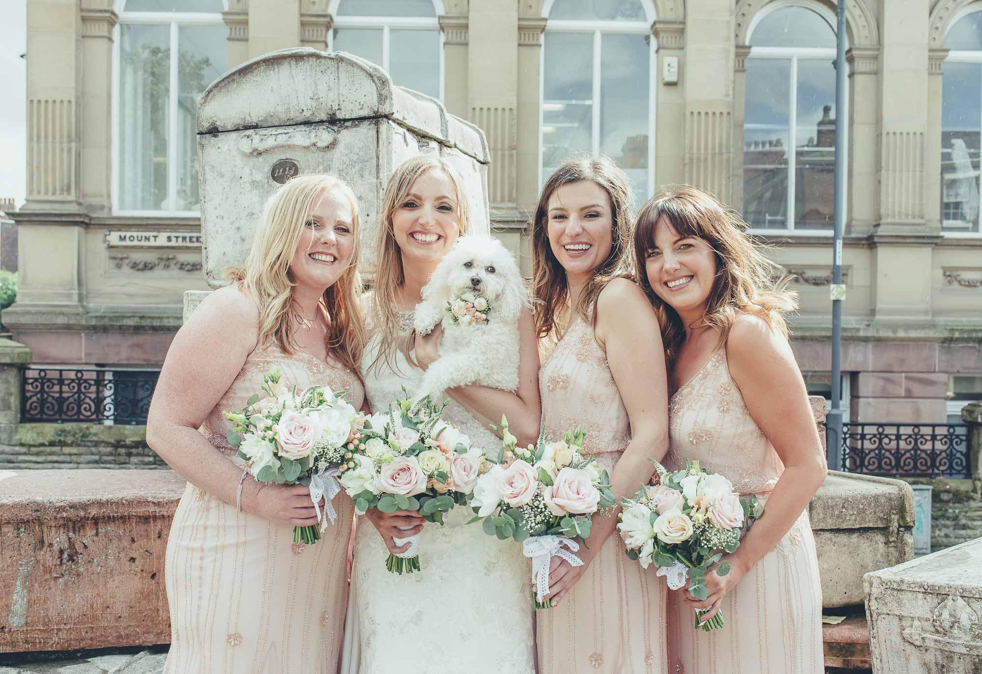 Wedding photography bridesmaids and dog
